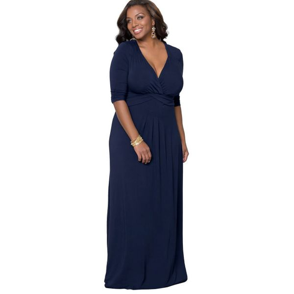 Plus Size Solid Half Sleeve Maxi X-line Dress (1955382919) 3