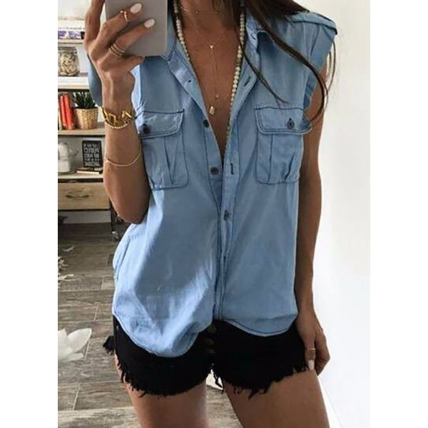 Solid Casual Collar Sleeveless Blouses (1645591130)