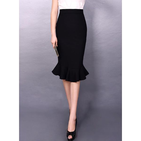 Solid Knee-Length Casual Skirts (1725377589) 5