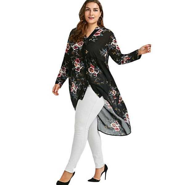 Plus Size Floral Casual V-Neckline Long Sleeve Blouses (1645377234) 5