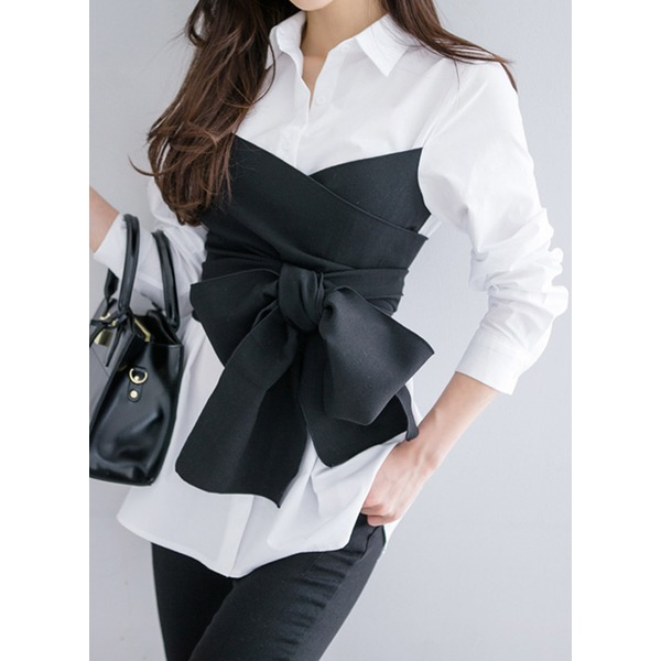 Color Block Casual Collar Long Sleeve Blouses (1645276321) 2
