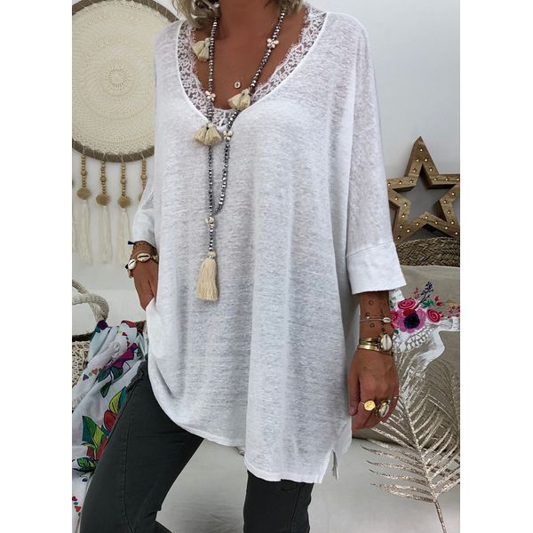 Solid Casual V-Neckline 3/4 Sleeves Blouses (1645407934)