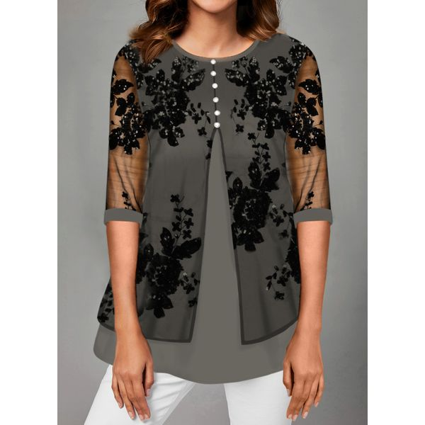 Floral Casual Round Neckline 3/4 Sleeves Blouses (1645533956)