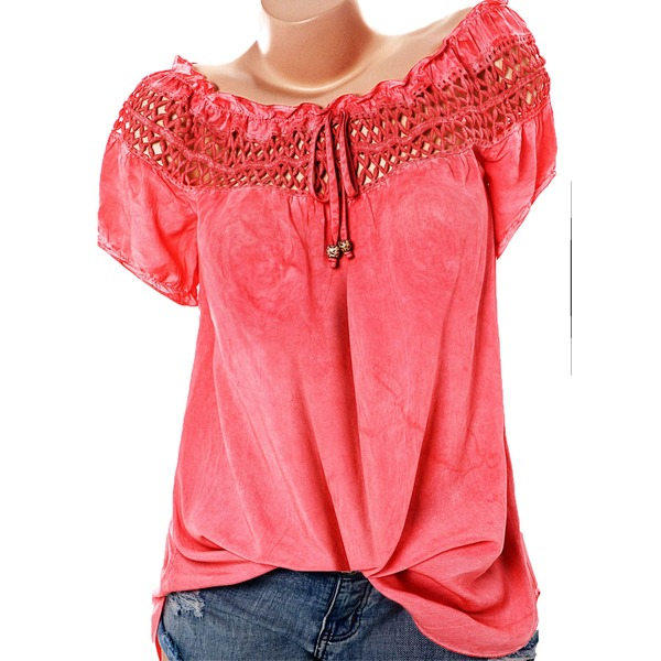 Solid Casual Boat Neckline Short Sleeve Blouses (1645276314) 3
