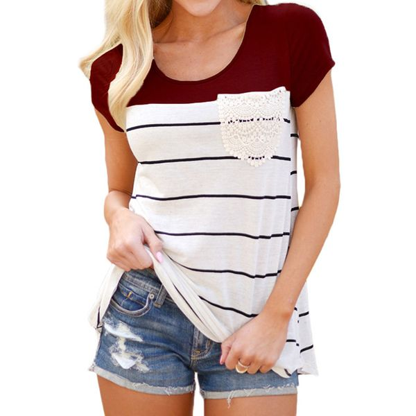 Color Block Round Neck Short Sleeve Casual T-shirts (1685382875) 5