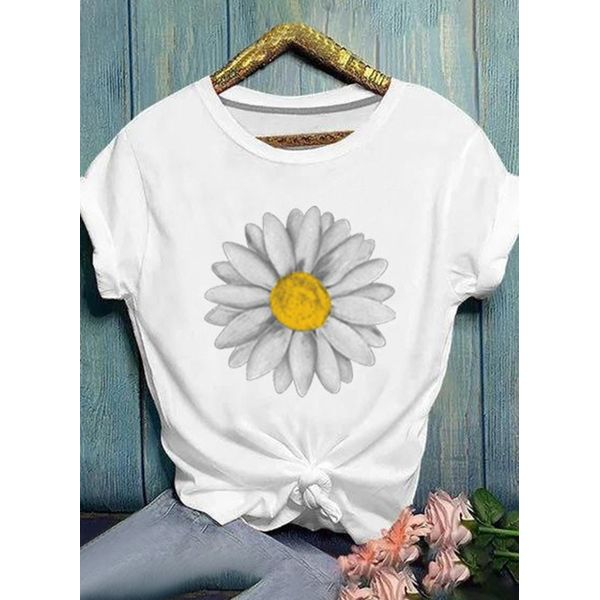 Floral Round Neck Short Sleeve Casual T-shirts (1685591699)