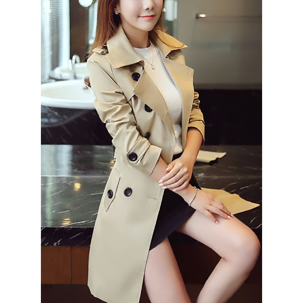 3/4 Sleeves Lapel Buttons Trench Coats Coats (1715378782) 1