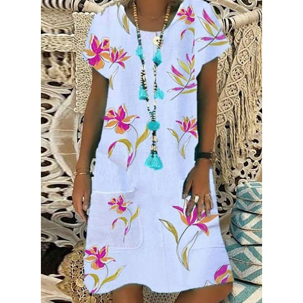Casual Floral Tunic Round Neckline Shift Dress (1955580375)