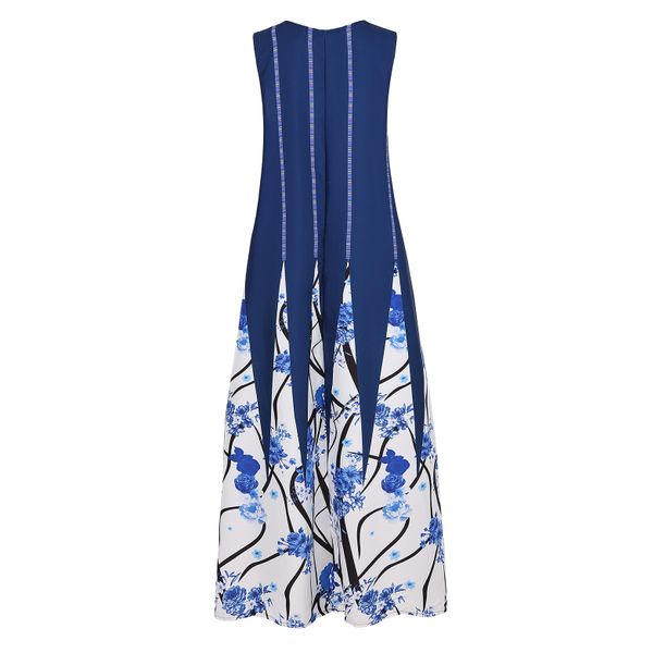 Color Block V-Neckline Sleeveless Maxi Shift Dress (1955421015, Black;blue;green;red;white