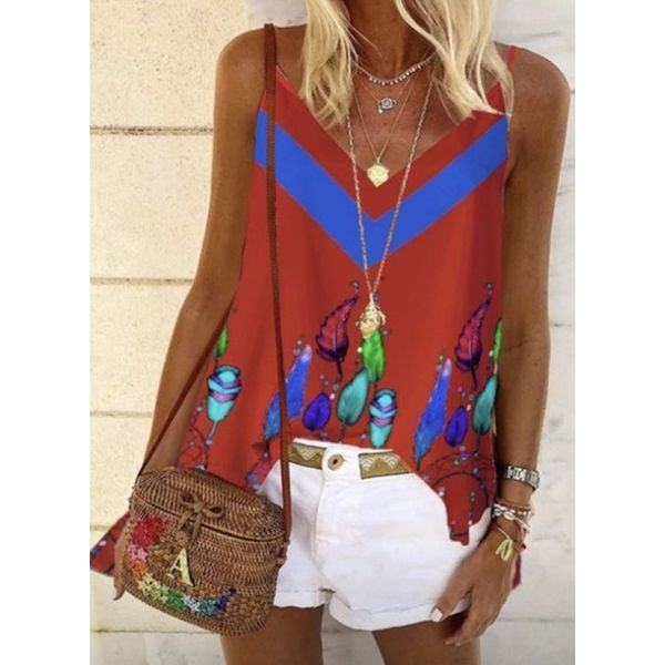 Floral Casual Camisole Neckline Sleeveless Blouses (1645593426)