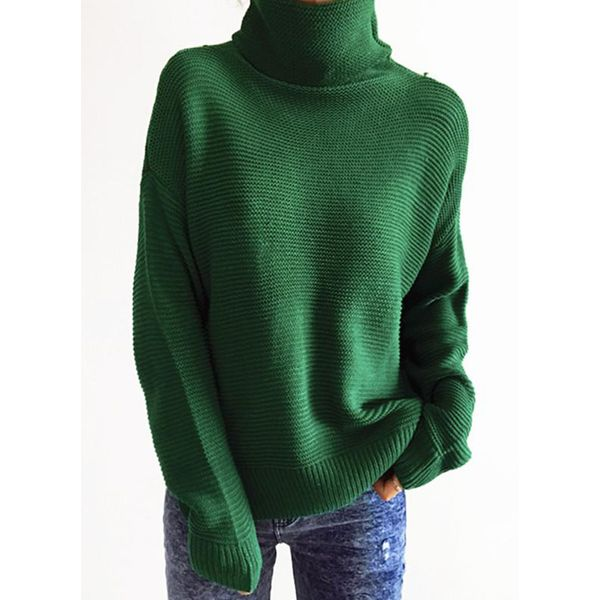 High Neckline Solid Oversized Regular None Sweaters (1675340213) 7