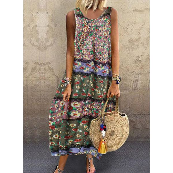 Casual Floral Tunic Round Neckline Shift Dress (1955538202)