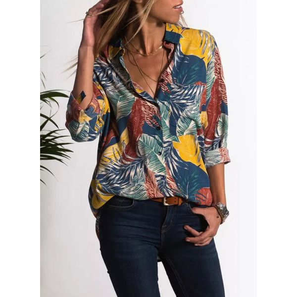 Floral Casual Collar Long Sleeve Blouses (1645382413) 3