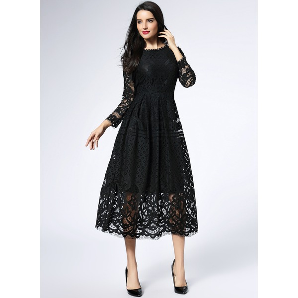 Solid Hollow Out Long Sleeve Midi A-line Dress (1955119016) 3