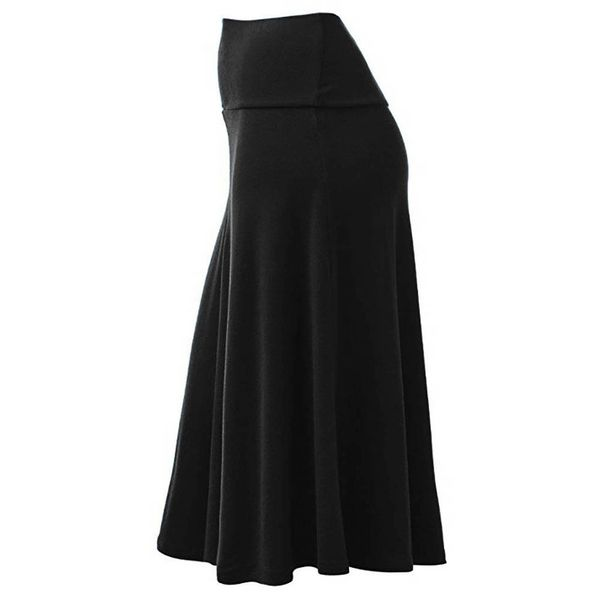 Solid Mid-Calf Casual Ruffles Skirts (1725342618) 11