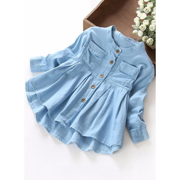 Girls' Solid Daily Long Sleeve Dresses (30135324672) 6