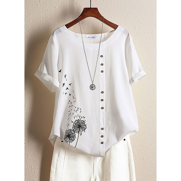 Character Casual Round Neckline Short Sleeve Blouses (1645441363)