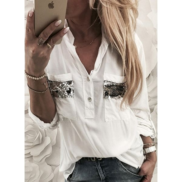 Solid Casual V-Neckline Long Sleeve Blouses (1645381488) 5