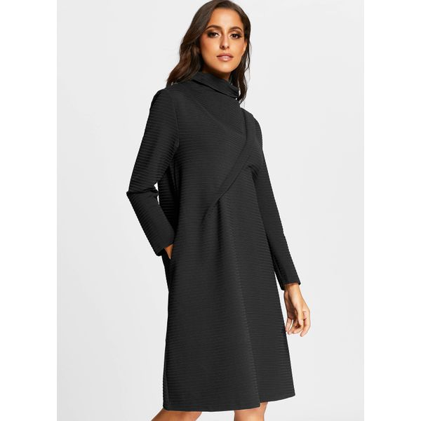 Solid Long Sleeve Knee-Length A-line Dress (01955374972) 2