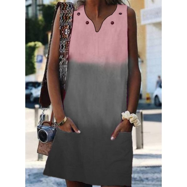 Casual Solid Pockets Tunic Shift Dress (1955414801)