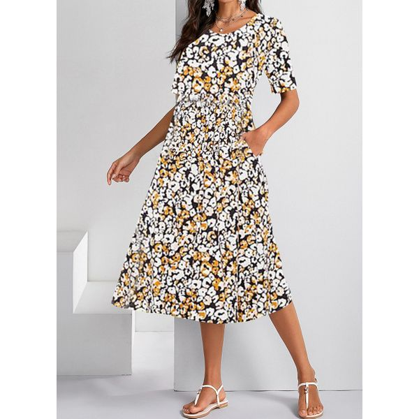Casual Floral Tunic Round Neckline Shift Dress (1955599541)