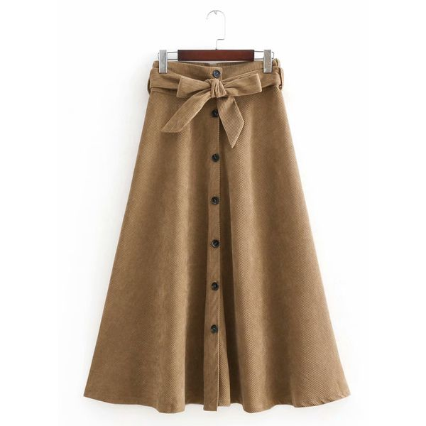 Color Block Mid-Calf Cute Buttons Skirts (1725379523) 7