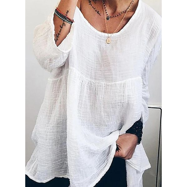 Casual Round Neckline Short Sleeve Blouses (1645593425)