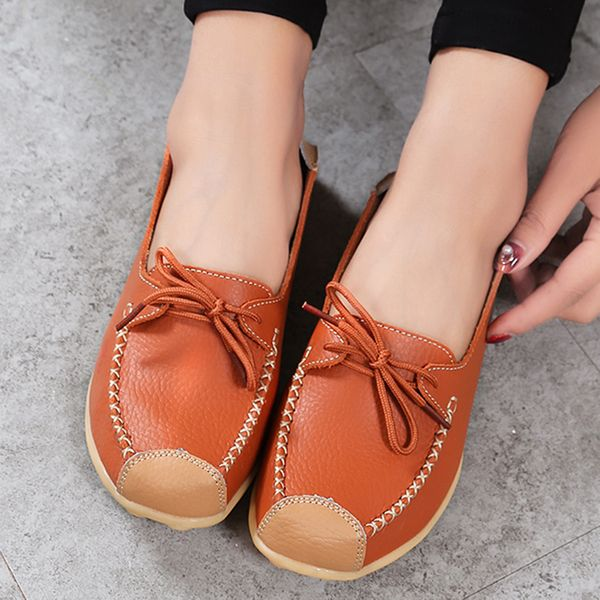 Women's Lace-up Round Toe Flat Heel Loafers (1625592881)