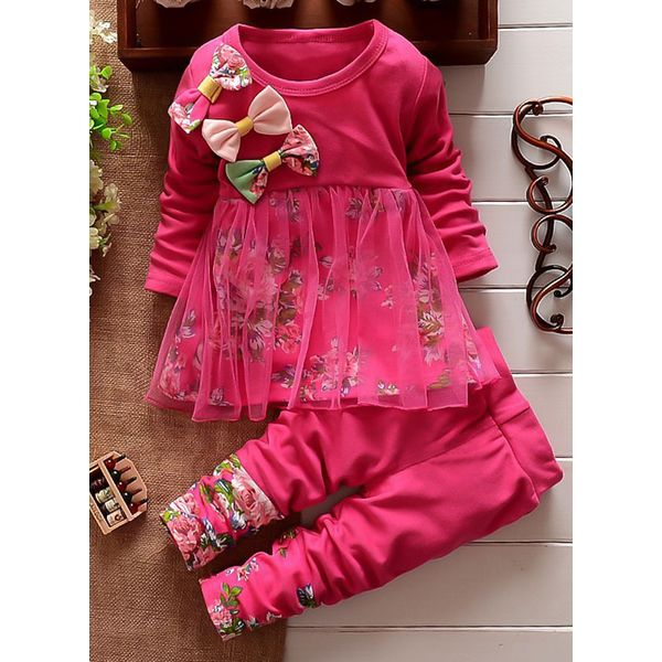 Girls' Cute Floral Daily Long Sleeve Clothing Sets (30145329557) 6