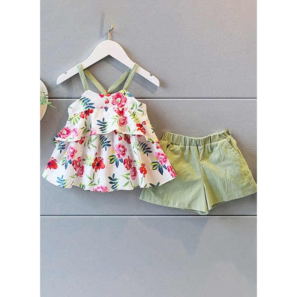 Girls' Floral Daily Sleeveless Clothing Sets (30145294196) 1