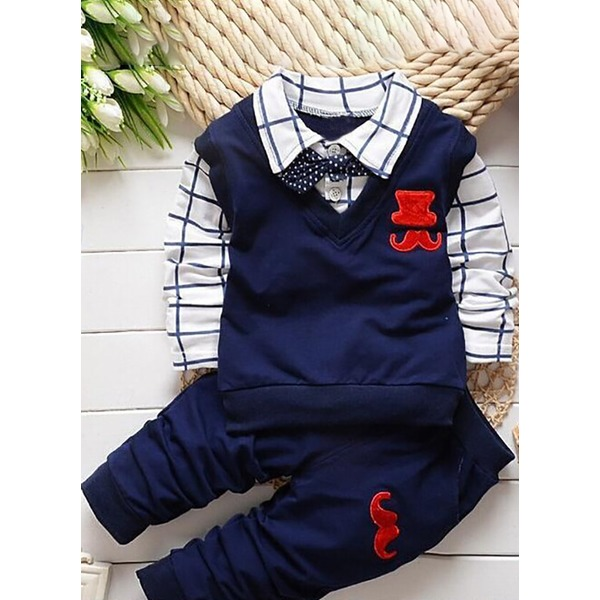 Boys' Color Block Daily Long Sleeve Clothing Sets (30165285441) 10