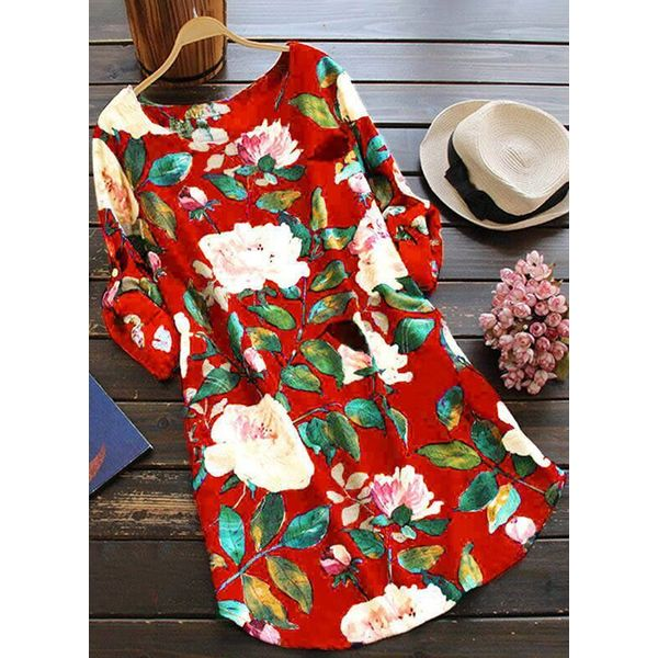 Floral Casual Round Neckline Long Sleeve Blouses (1645415828)