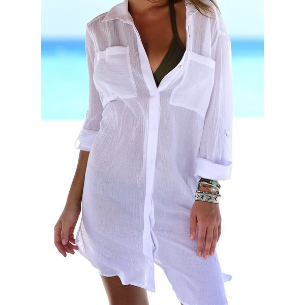 Cover-Ups Polyester Solid Plus Swimwear (30425579894)