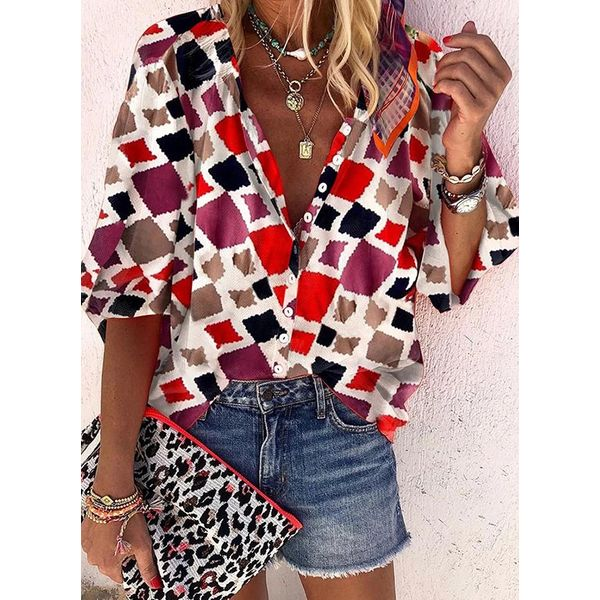 Color Block Casual Collar 3/4 Sleeves Blouses (1645509494)
