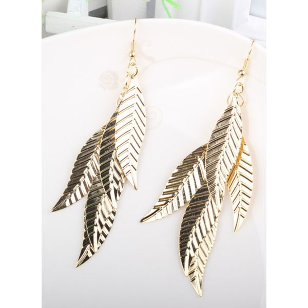 Floral No Stone Dangle Earrings (1855394334, Gold;silver
