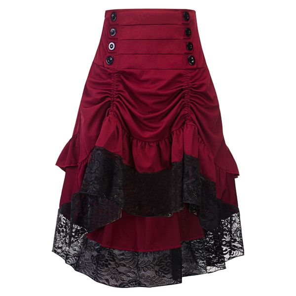Solid Mid-Calf Elegant Buttons Skirts (1725379546) 4
