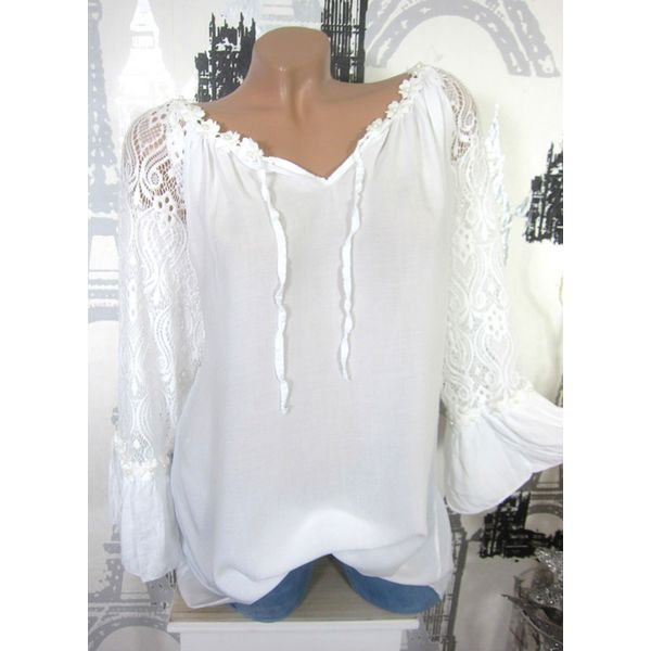 Solid Casual V-Neckline Long Sleeve Blouses (1645372275) 4