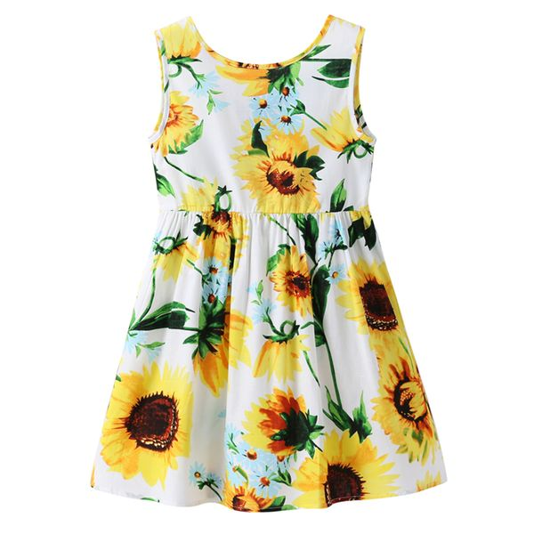 Girls' Casual Floral Daily Sleeveless Dresses (30135408268, Royal blue;yellow