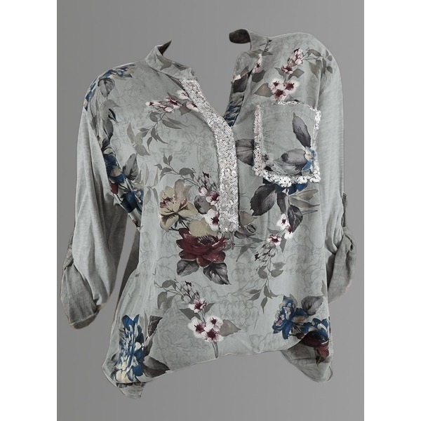 Floral Casual V-Neckline Long Sleeve Blouses (1645281261) 11