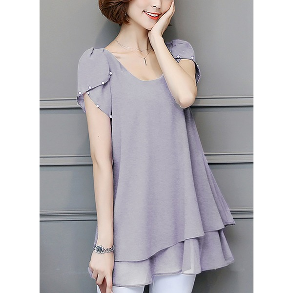 Solid Casual Square Neckline Short Sleeve Blouses (1645270053) 3