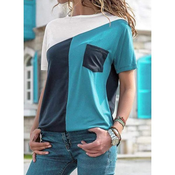 Color Block Round Neck Short Sleeve Casual T-shirts (1685562372)
