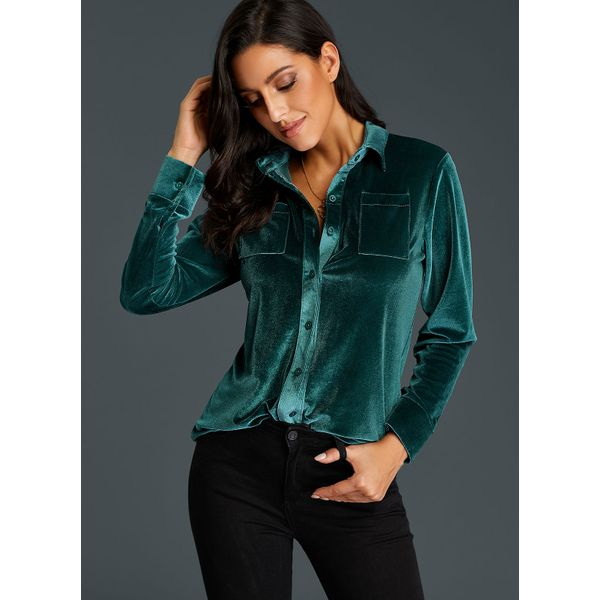 Solid Vintage Collar Long Sleeve Blouses (01645382468) 4