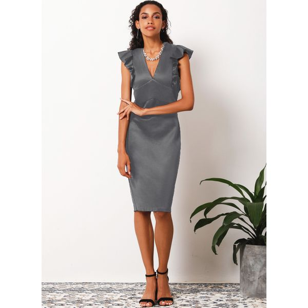Solid Ruffles Sleeveless Above Knee Sheath Dress (1955181776) 4