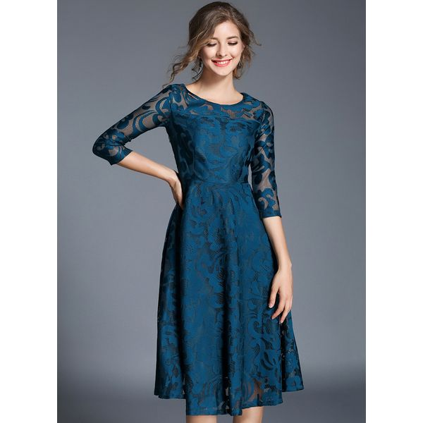 Solid Hollow Out Peasant Knee-Length A-line Dress (1955340810) 2