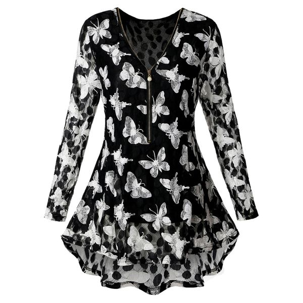 Plus Size Animal Cute V-Neckline Long Sleeve Blouses (1645377245) 5