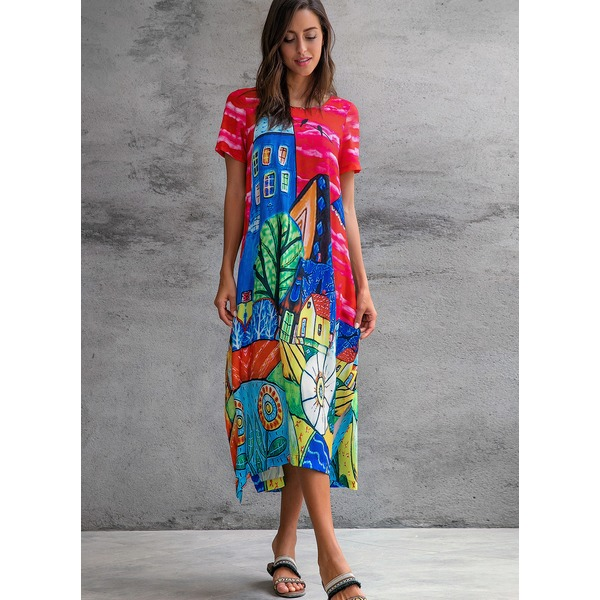 Plus Size Floral Short Sleeve Maxi A-line Dress (01955303936) 3