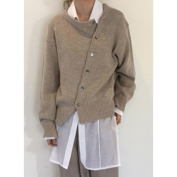 Round Neckline Solid Loose Regular Buttons Shift Sweaters (1675376853) 10