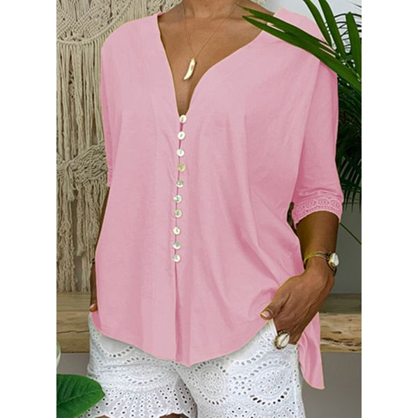 Solid Casual V-Neckline Long Sleeve Blouses (1645489285)