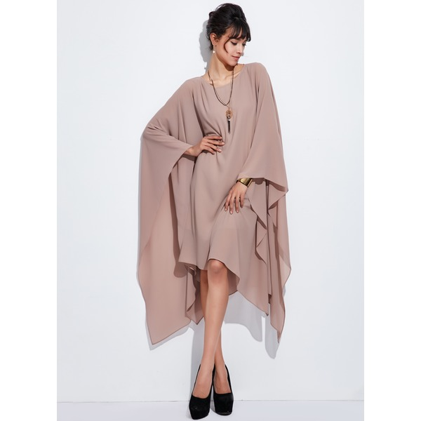 Solid Long Sleeve High Low Shift Dress (1955126693) 10