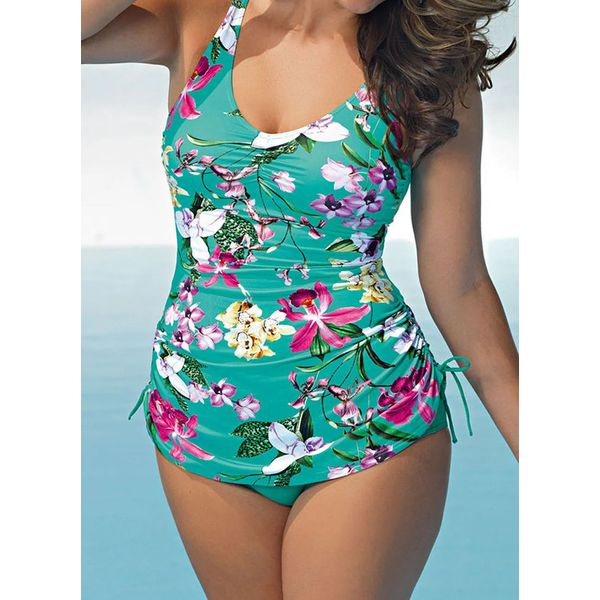 Plus Size Tankinis Polyester High Waist Knotted Floral Plus Swimwear (30425592222)